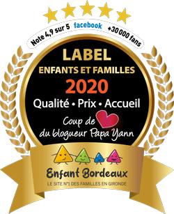 Label 2020 enfants et familles obtenu par Nounou Vadrouille